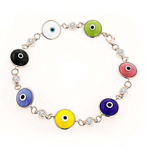 Luxurman 14K Diamond Evil Eye Bracelet Multicolor (Rose Gold)