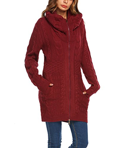 Zeagoo Womens Long Sleeve Hooded Aran Zipper Knitwear Cable Knit Cardigan Sweater,Large,Wine Red