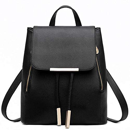 Besde Black Faux Leather Backpack Girls Schoolbag Casual Daypack (60 Tablets Reveal)