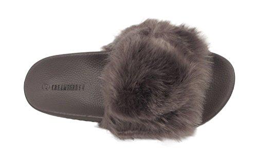 Con Flop Scarpe Ciabatte Grey Flop Piatte Taglia Donna Pelliccia Uk Per Sandali Borchie In Morbidi PSTP01n