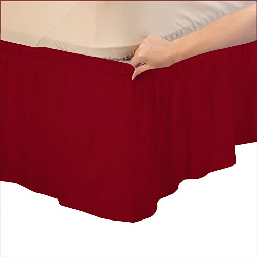 Relaxare King 400TC 100% Egyptian Cotton Burgundy Solid 1PCs Wrap Around Bedskirt Solid (Drop Length: 16 inches) - Ultra Soft Breathable Premium (Cotton Voile Wrap)