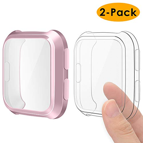 EZCO Compatible Fitbit Versa Screen Protector Case (2-Pack), Soft TPU Plated Case All-Around Protector Screen Cover Bumper Compatible Fitbit Versa Smart Watch, Rose Pink+Clear