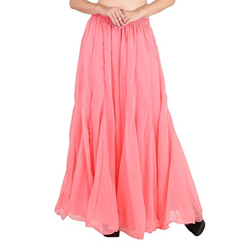 (Shararat Women's Palazzo Pants Georgette Loose Plain Flared High Waist Sharara (Light Pink) )