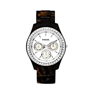 Fossil Women's ES2456 Tortoise Resin Bracelet White Glitz Analog Dial Watch
