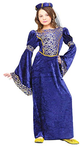 Renaissance Maiden Kids Costume Blue / Gold Small ()