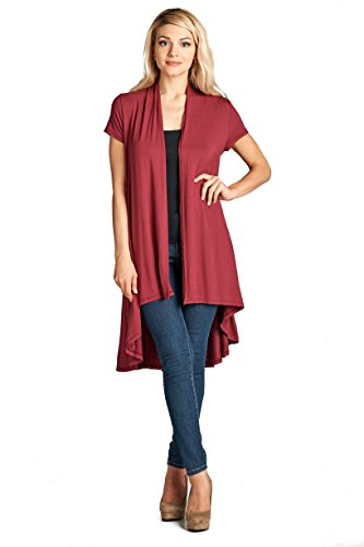 Long Open Front Soft Bamboo Cardigan Sweater for Women (S - 5XL) - Made in USA (2X-Large, Burgundy 2) ()