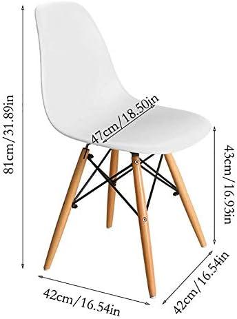 DRAGCYZ Moderne Eiffel Rétro Chaises De Salle À Manger,Ménage Plastique Bois Chaise Longue,Pour Bureau Cuisine Chambre Déraper/blanc / 1