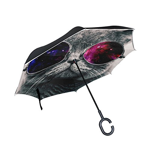 Gray Cat Face Glasses Thick Inverted Umbrella, Double Layer Reverse Umbrella for Car and Outdoor