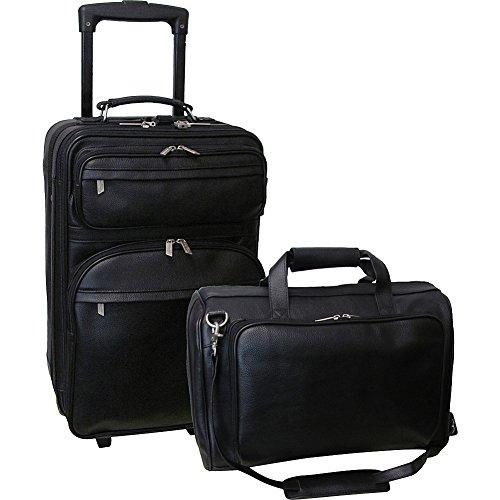 AmeriLeather Leather 2 Pc. Carry-On Set (Black)