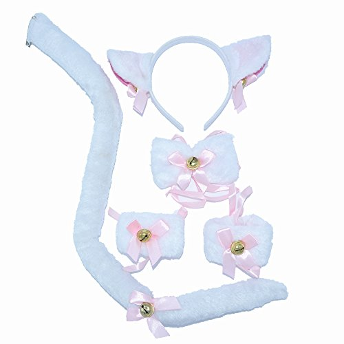 BOMPOW Cat Tail Cosplay Set Cat Headband Ears Bow Tie Costume for Halloween Party Decor 6 Pack - Kid Friendly Halloween Costumes Ideas
