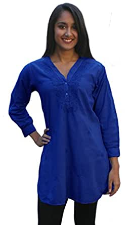 Ayurvastram Pure Cotton Shirt Tunic Top Kurti: Blue, Size 0