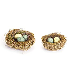 Melrose Set of 2 Artificial Bird's Nests with Spotted Eggs 17