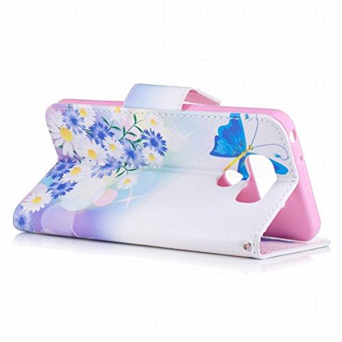 Custodia LG G6 / H870 Cover, Ougger Blue Butterfly Portafoglio PU Pelle Magnetico Stand Morbido Silicone Flip Bumper Protettivo Gomma Shell Borsa Custodie con Slot per Schede