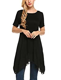 Meaneor Womens Chiffon Ruffle Hem Tunic Tops Loose Casual Swing T Shirt Dress
