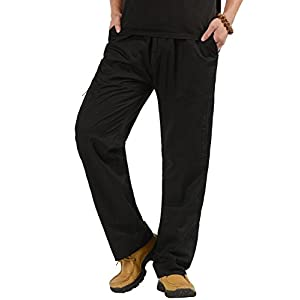 Men's Cotton Cargo Pants Big and Tall Relaxed-Fit Casual Full Elastic Waist Work Pant