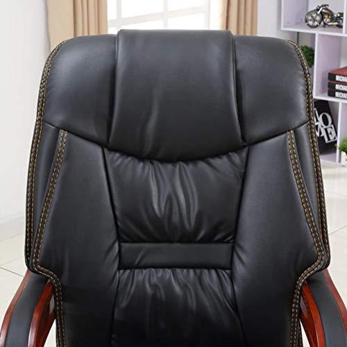 PHTW Äkta läder fritid kontorsstol, mode lunchpaus datorstol med ergonomisk U-formad ryggstödsdesign för chef handledare chef