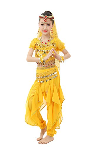 Gilrs Halloween Costume Set - Kids Belly Dance Halter Top Pants with Jewelry Accessory for Dress Up Party(Yellow,M) -