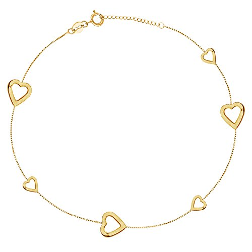 Ritastephens 14k Gold Mini Sideways Open Hearts Adjustable Box Chain Anklet Ankle Bracelet 9-10 Inches - 14k Anklet Heart Gold