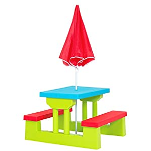 Best Choice Products Kids Outdoor Garden Picnic Table Bench Combo w/Umbrella - Multicolor