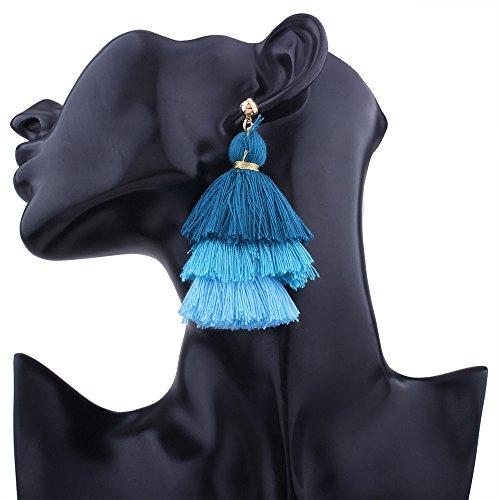 SSYUNO Fashion Three Color Tassel Hook Fringe Boho Dangle Drop Earrings for Women Girls Gold Hoop Bohemian Retro Vintage Assorted