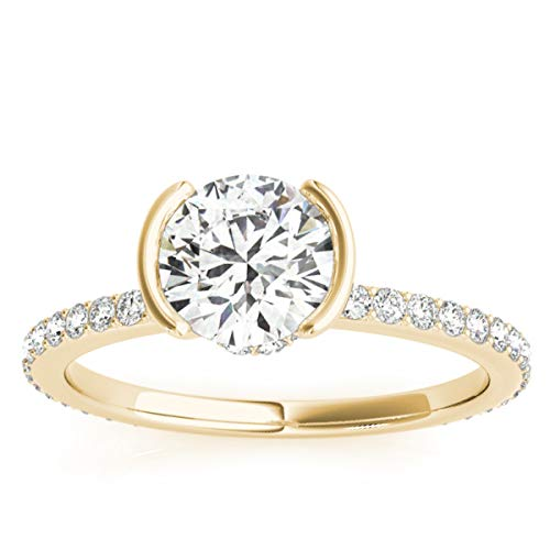 (0.30ct) 14k Yellow Gold Semi-Bezel Diamond Engagement Ring Setting