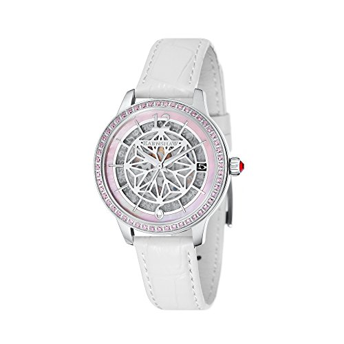 Thomas Earnshaw Women's 'LADY KEW' Automatic Stainless Steel and Leather Dress Watch, Color:White (Model: ES-8064-01)