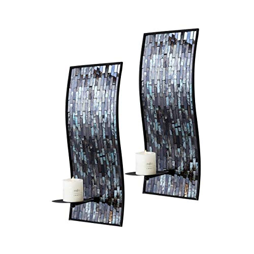 - Whole Housewares 8 x 18 Inches Decorative Metal Wall Candle Sconce - Mosaic Glass Set of 2(Blue/Brown)