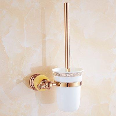 Lx.AZ.Kx Toilet Brush and Holder with long handle for Bathroom Toilet European Style Bathroom pink gold Towel Rack Toilet Jade Bath Towel Rack Toilet, Metal-To-Set pink gold Jade-