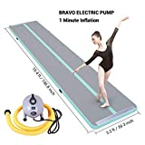16ft Air Track Tumbling Mats for Gymnastics with Bravo Electric Pump Mint Green Inflatable Tumble Track Air Floor for Indoor Outdoor Training Home Gym Dance Cheerleading Martial Arts Beach Large