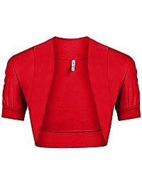 Women's Ruched Short Sleeve Cropped Open Shrug Bolero Cardigan
