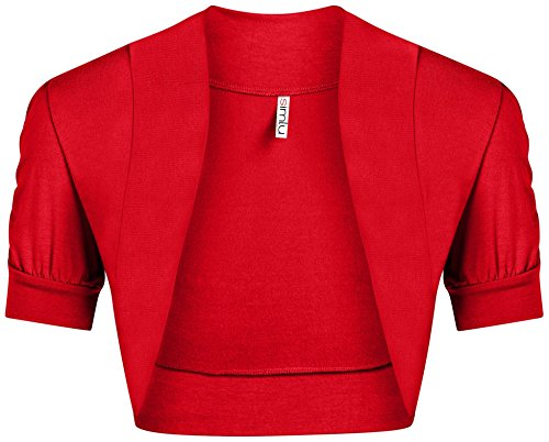Red Shrug for Women Plus Size and Regular Size Short Gathered Sleeve Red Bolero Jacket,Red,X-Large