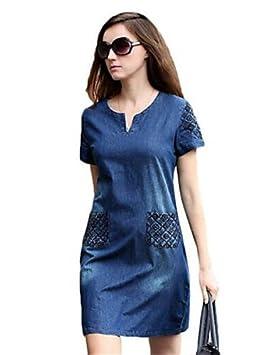 Mujer Vestidos Casual 2016 Verano Mujer Street Chic Sólido Loose Vestido, cuello en V por