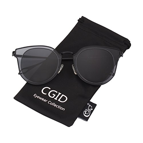 CGID MJ86 Womens Fashion Double Circle UV400 Mirrored Lens Metal Frame Oversized Polarized Sunglasses