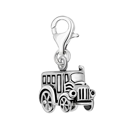 Quiges 925 Sterling Silver 3D Antique Car Lobster Clasp Charm Clip on Pendant