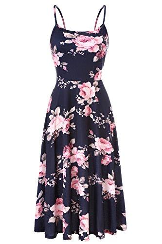 - Viracy Strappy Dresses Women, Ladies Sleeveless Dress Leggings Summer Modest Graceful Pleats Cotton Guest Sundress Easy Fit Knee Length Business Casual Cami Blue Flower XXL