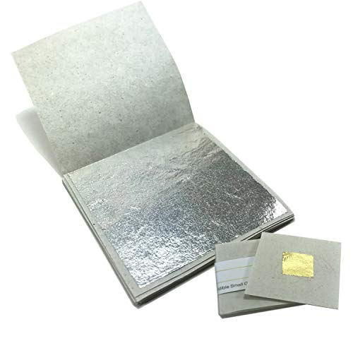 (Genuine Edible Silver Leaf Sheets - by Goldleafking 30 Sheets - 2.0 x 2.0 inches for Cooking, Cake & Chocolate, Brownie, Arts, Food Decoration, Gilding, Multi-Purpose + Free Small Gold Leaf x 10)