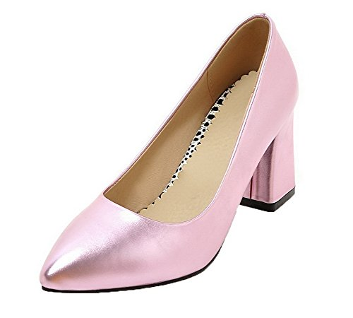 Pointed Solid On Pumps Heels Shoes Toe Pull Pink High Women's PU WeenFashion Closed ExpCwzBwq