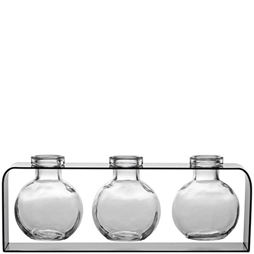 Couronne Company M507-200-00 Trivo Three Recycled Glass Vases & Metal Stand, 3 3/4