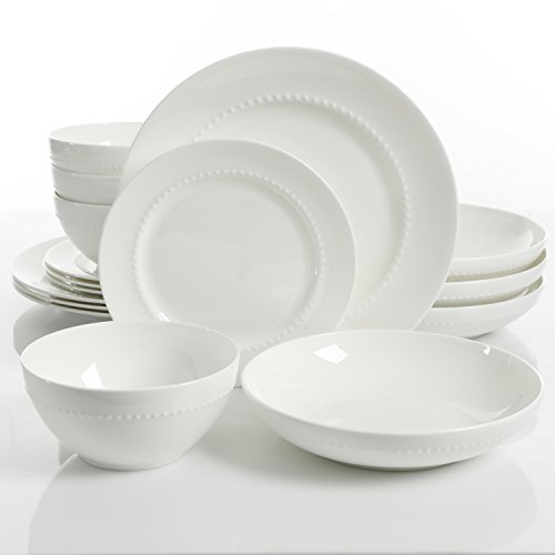 Gibson Overseas, Inc. 99845 Gibson Elite 99846.16RM Embossed Bone China 16 PIece Double Bowl Dinnerware Set White ()