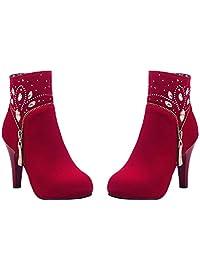 HooH Women Ankle Boots Zipper Bling Diamonds High Heel Wedding Boots