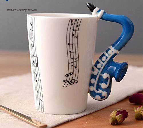 Creative Saxophone Ceramic Cup Personality Music Note Milk Lemon Mug Coffee Tea Cup Home Office Drinkware B 250ml ()