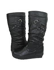 Comfy Moda Women's Adjusted Calf Winter Boots November in Black & Brown Size 6-11 (Black, 10)