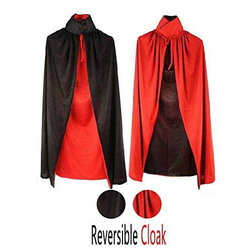 Halloween Vampire Cape Vampire Cloak Adult/Child Ladies Double Layer Black and Red Reversible Cloak COS Set