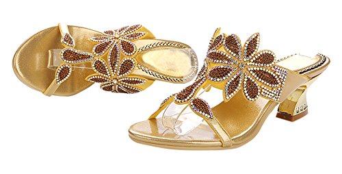 Slippers Voor Dames Van Honingwinkels Glitter Strass Sandalen Schoenen Goud