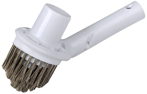 Pooline Corner Brush with Vacuum Connection - White Brush Body and Handle - Stainless Steel Bristles ()