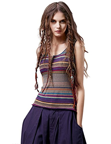 (Artka Boho Sleeveless Short Sweater Vest Striped Ethnic Style Tank Multicolored Large)