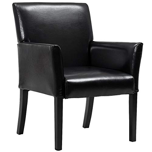 Giantex Leather Reception Guest Chairs Set Office Executive Side Chair Padded Seat Ergonomic Mid-Back Meeting Waiting Room Conference Office Guest Chairs w Arms, Black 1 PC