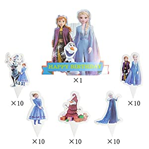 51PCS Frozen 2 Cupcake Topper Cake Toppers for Kids Birthday Party Cake Decoration