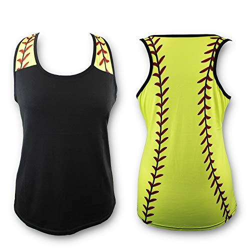KNITPOPSHOP Softball Tank Top for Mom Fans T Shirt Apparel Tshirt Gifts Team (Black/Yellow, Large)