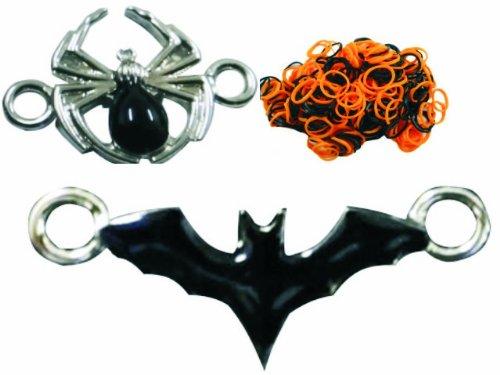 Loom Bandz Halloween 300 Count Black & Orange + BONUS Spider & Bat Enamel Charms!!! -
